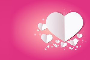 Valentine card with heart on pink