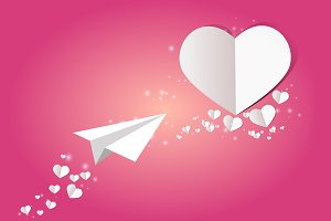 Valentine card with heart and plane