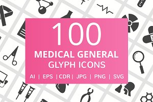 100 Medical General Glyph Icons