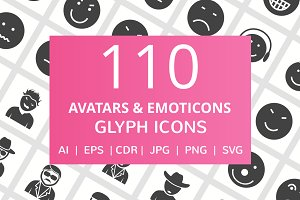 110 Avatars & Emoticons Glyph Icons