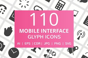 110 Mobile Interface Glyph Icons