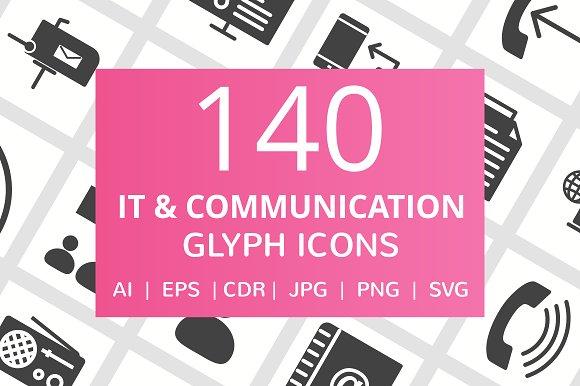 140 IT Communication Glyph Icons