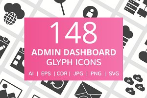 148 Admin Dashboard Glyph Icons