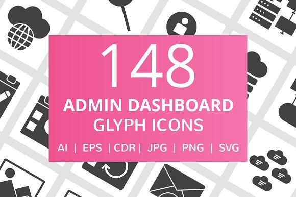 148 Admin Dashboard Glyph Icons