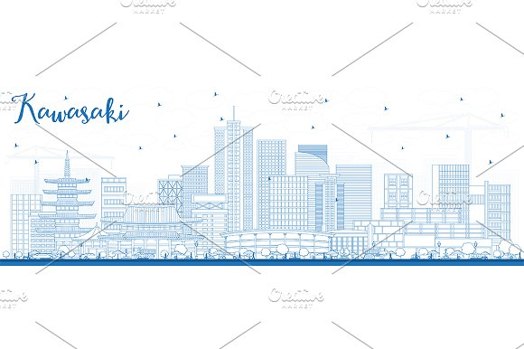 Outline Kawasaki Japan City Skyline