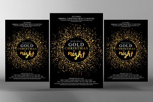Christmas Glod Glitter Party Flyer