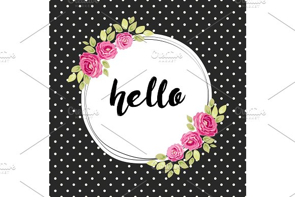 Cute shabby chic frame with roses on seamless polka dots background