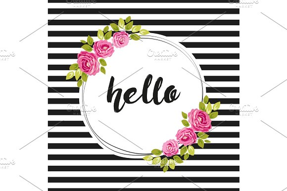 Cute shabby chic frame with roses on seamless stripes background in Illustrations