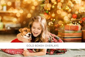 Gold bokeh overlays
