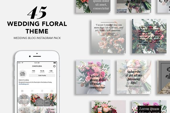 45 Wedding Blogger Instagram Pack