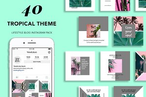 40 Tropical Theme Instagram Pack