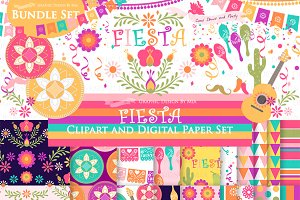 Fiesta Clipart+Pattern set
