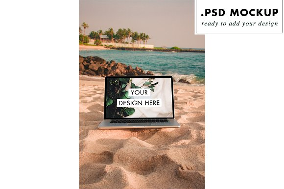 Digital Nomad Sunset Beach Mockup