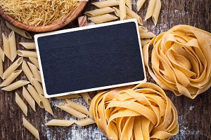 Different type of raw pasta