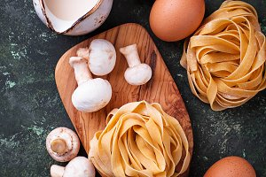 Ingredients for cooking pasta  with  mushrooms