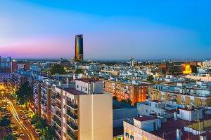 Sevilla Tower at night. Spain.