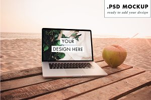 Paradise beach laptop PSD