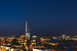 Pelli Tower at night. Seville,Spain