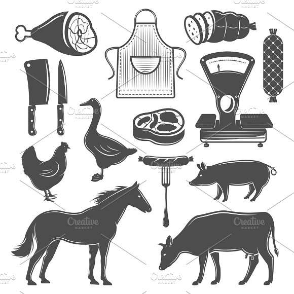 Butchery Monochrome Elements Set