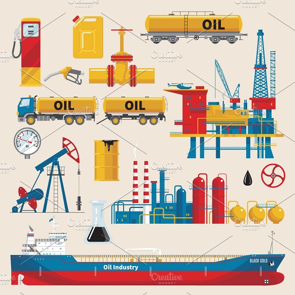 Oil Industry Decorative Icons Set