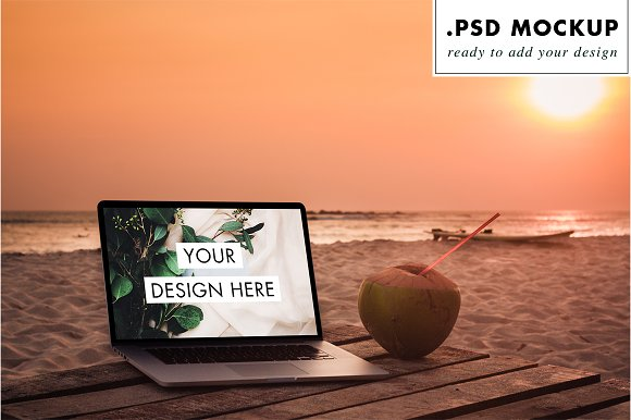 PSD Laptop Sunset Beach
