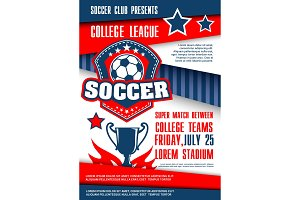 Sport match poster with soccer ball badge