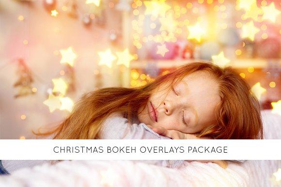 Christmas bokeh overlays package