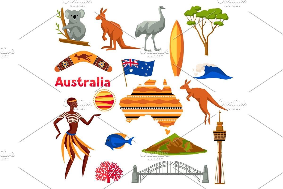Australia icons set. Australian traditional symbols and objects