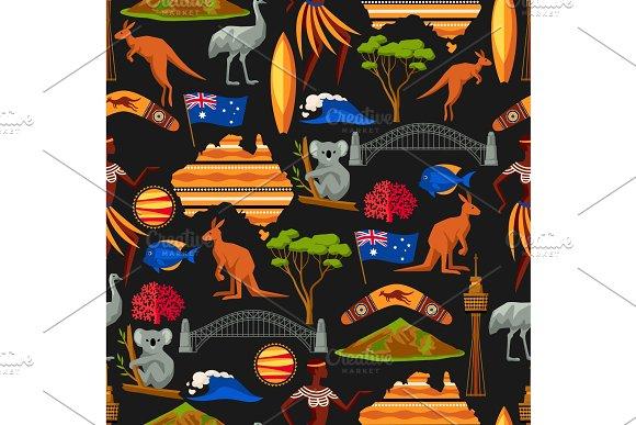 Australia Seamless Pattern Australian Traditional Symbols And Objects