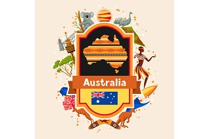 Australia background design. Australian traditional symbols and objects