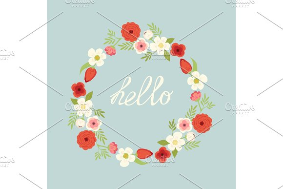 Vintage Hand Drawn Rustic Wreath With Cute Spring Flowers