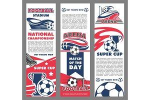Football sport match banner of soccer championship