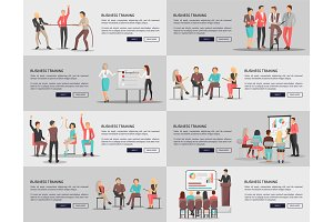Business Training Seminars Set of Posters Vector