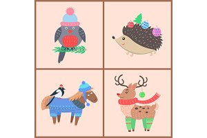 Set of Icons with Animals on Vector Illustration