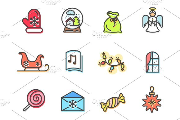 Christmas Collection Of Icons Vector Illustration