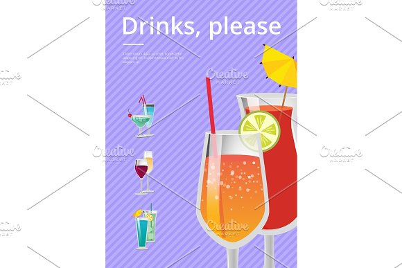 Drinks Please Poster with Lemonade Cocktail Glass