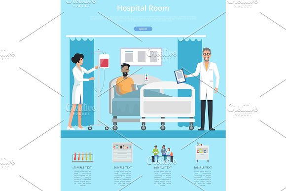 Hospital Room Services Vector Illustration