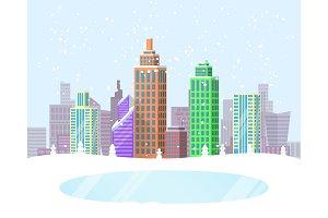 Wintertime Cityscape Poster Vector Illustration