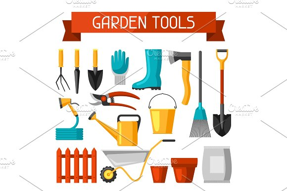 Seamless pattern with garden tools and icons. All for gardening business illustration