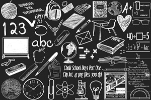 Chalk School Days Part 1 Clip Art
