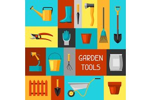 Concept background with garden tools and icons. All for gardening business illustration