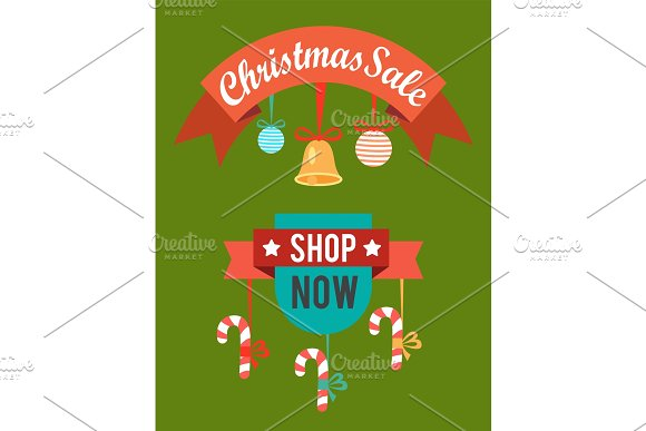 Christmas Sale Shop Now Poster Vector Illustration in Objects