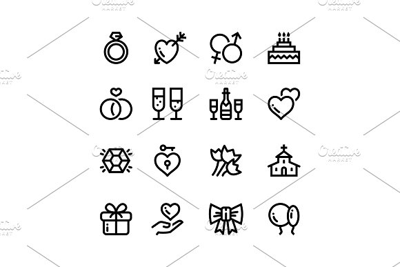 Wedding, Dating, Love Icons Pack 1