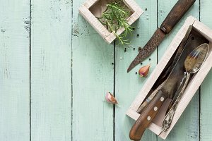 Vintage kitchen utensils.