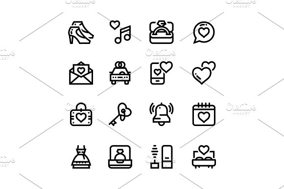 Wedding, Dating, Love Icons Pack 2