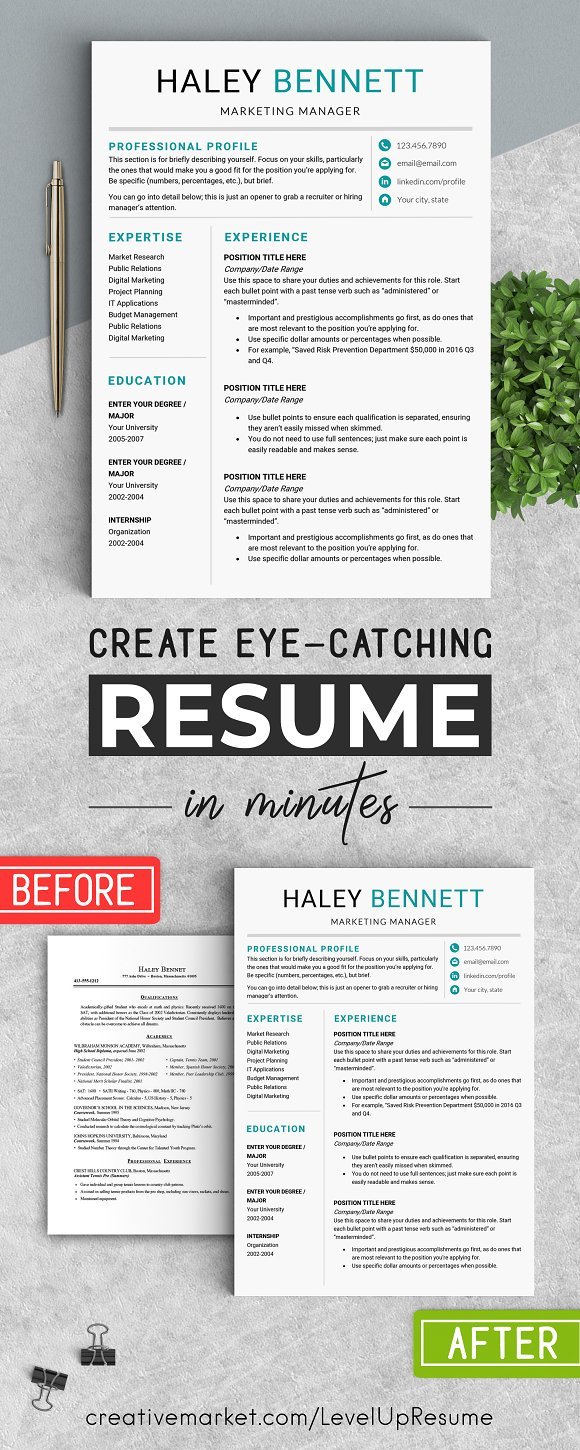 Editable RESUME Template / MS Word ~ Resume Templates ~ Creative ...