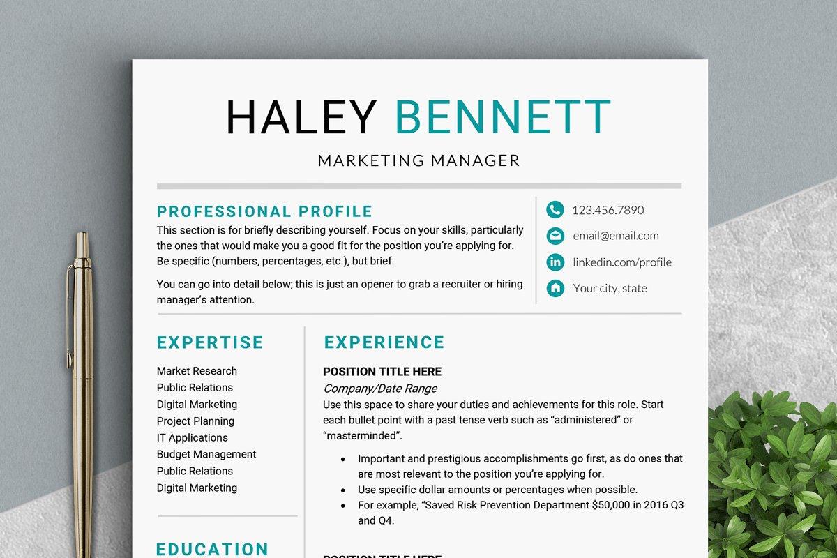 Marketing Resume Template | Editable Resume Template Ms Word Resume Templates