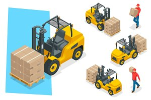 Isometric vector forklift truck isolated on white. Storage equipment icon set. Forklifts in various combinations, storage racks, pallets with goods for infographics.