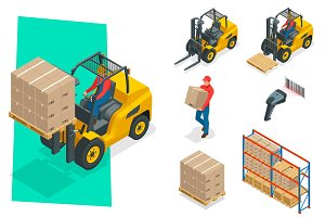 Isometric vector forklift truck isolated on white. Storage equipment icon set. Forklifts in various combinations, barcode, storage racks, pallets with goods for infographics.