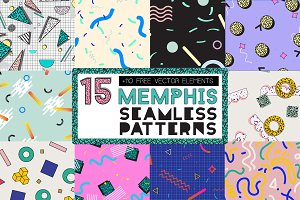 15 MEMPHIS Seamless Patterns